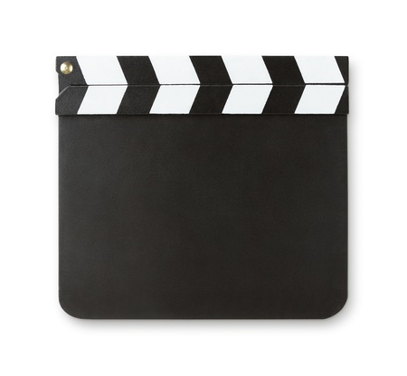 film director: Blank clapboard isolated on white background with copy space and clipping path