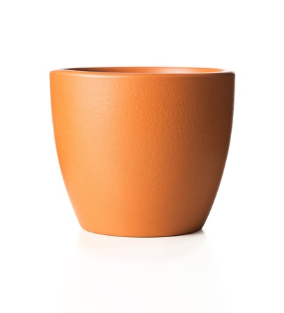 clay: Empty flower pot isolated on white background