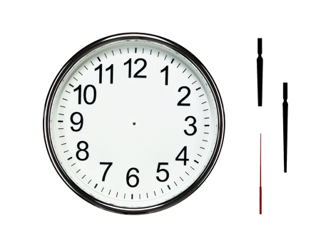 beat the clock: Close up of blank silver clock isolated on white background with clipping path for all elements so you can easily set your own time