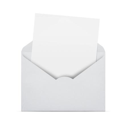 envelope with letter: Apra la busta con la lettera in bianco che esce isolato su sfondo bianco con copia spazio