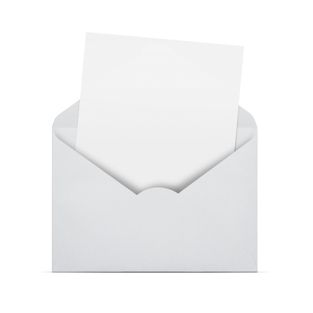 Open envelope with blank letter coming out isolated on white backround with copy space photo