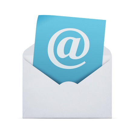 Open envelope with email note isolated on white background with clipping path Stock Photo - 18708472