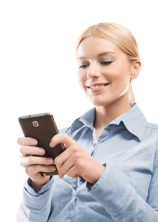 business woman phone: Close up of young attractive blonde woman using smart phone isolated on white background Stock Photo