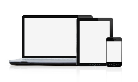 Set of blank modern mobile devices isolated on white background with clipping path for the screens Stock Photo - 18964958