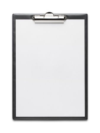 Clipboard with blank paper sheet isolated on white background Stock Photo