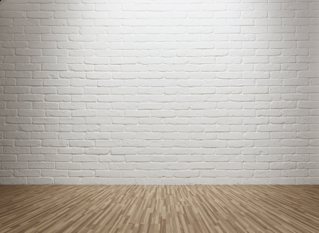 Empty room with spot lit brick wall and copy space