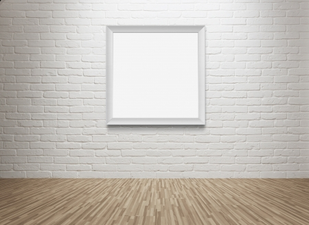 gallery interior: Empty room with blank picture frame at the wall with copy space and clipping path