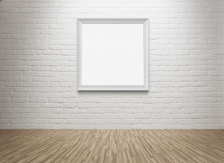 galeria fotografica: Sala vac�a con el marco en blanco en la pared con copia espacio y trazado de recorte