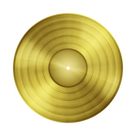 gold record: Blank gold record isolated on white background with copy space and clipping path