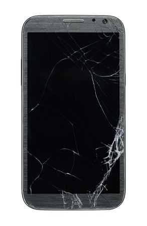 Broken mobile smart phone isolated on white background with clipping path