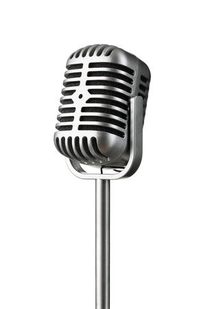 cantando: Micrófono de plata de la vendimia aislado en el fondo blanco Foto de archivo