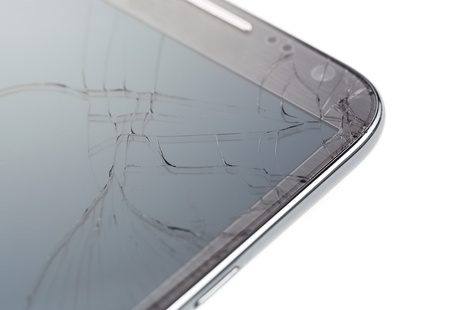 portable failure: Close up of broken smart phone isolated on white background