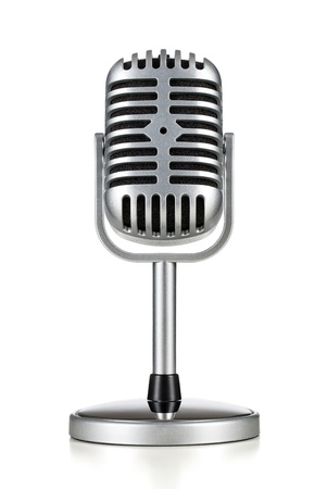 entertainment background: Vintage silver microphone isolated on white background