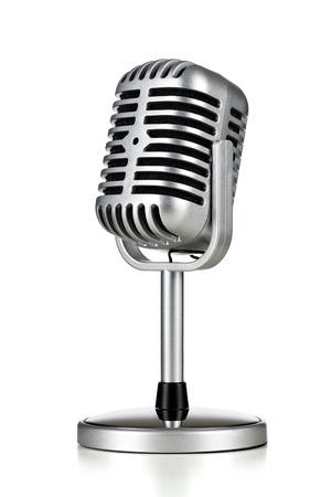 microfono de radio: Micrófono de plata de la vendimia aislado en el fondo blanco Foto de archivo