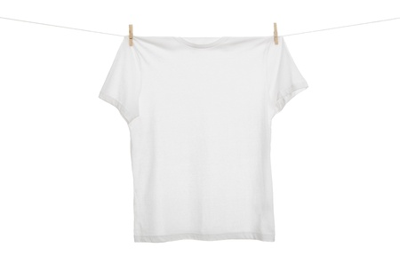 hanging on: Laundry, blank t shirt hanging on the clothes line isolated on white background with copy space