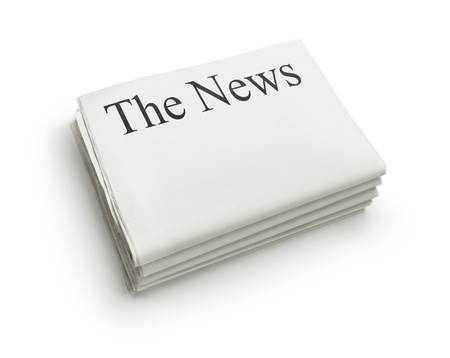 The News, stack of blank newspapers isolated on white background with copy space