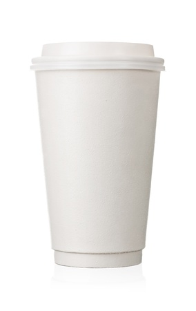 clean food: Close up of blank paper cup isolated on white background