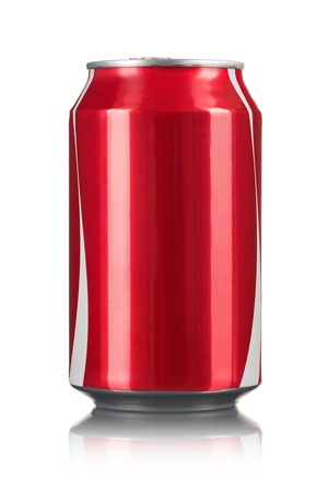 tin cans: Lege rode soda kan op een witte achtergrond met kopie ruimte Stockfoto