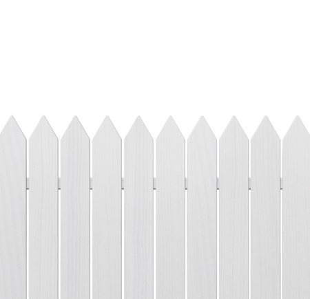 Wooden fence isolated on white background with copy space