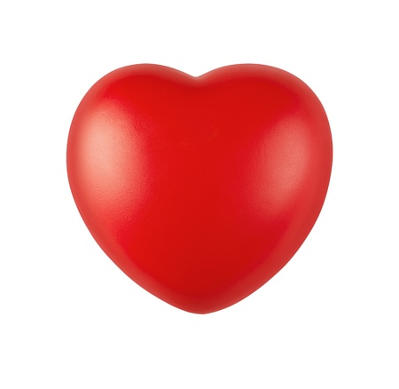 Close up of red rubber heart isolated on white background with clipping path photo