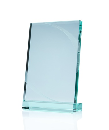 name plate: Blank glass award isolated on white background with clipping path