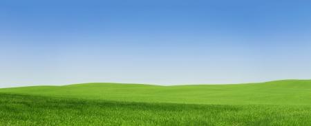 krajina: Panoramatický pohled na prázdné zelené pole s kopií vesmíru