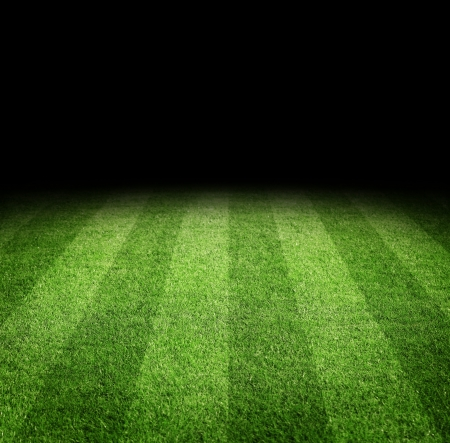 Close up of soccer or football field at night with copy space Archivio Fotografico