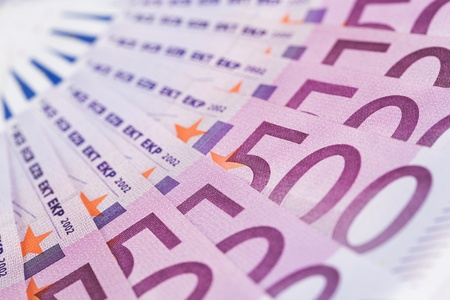 winning stock: Close up of european paper currency with copy space Stock Photo