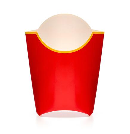 Close-up van lege patat doos geïsoleerd op witte achtergrond Stockfoto