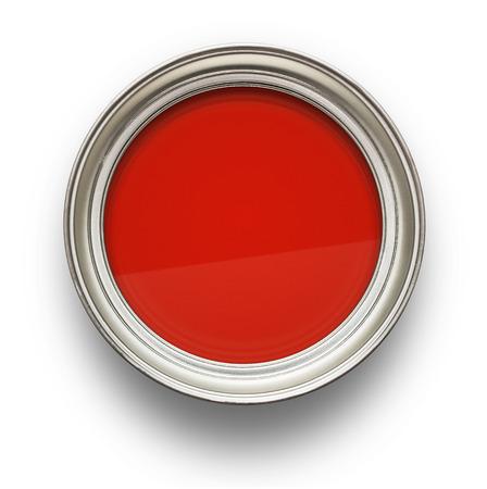 흰색 배경에 고립 된 빨간색 페인트의 높은 각도보기