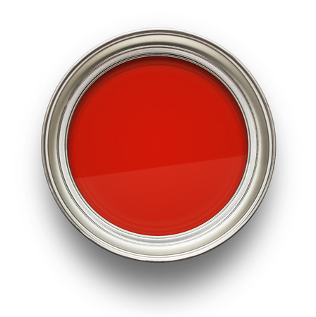 High angle view of red paint isolated on white background photo