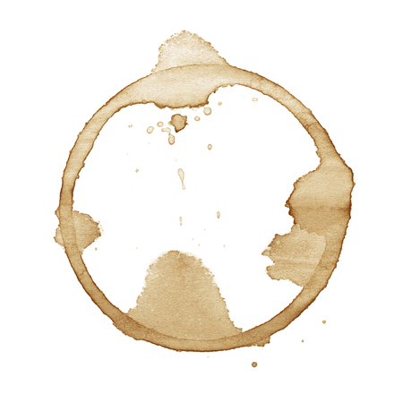 Coffee cup stain isolated on white background photo