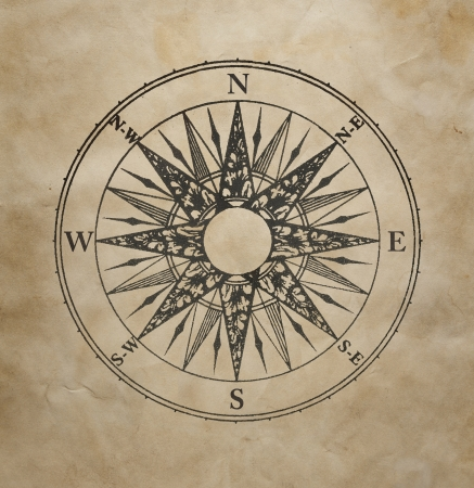 Wind rose on the old grunge paper  Stock Photo