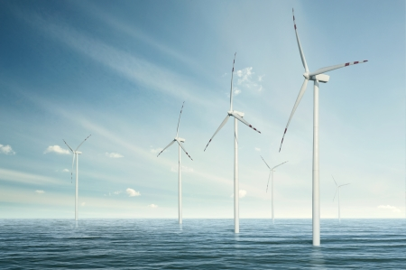 Wind turbines on the ocean  photo