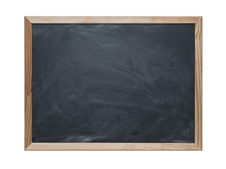 Close up of blank chalkboard isolated on white  版權商用圖片