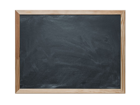 Close up of blank chalkboard isolated on white  Stock Photo