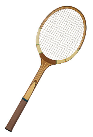 Old wooden tennis racket isolated on white background photo
