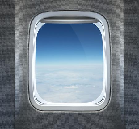 ventanas: Ver a través de la ventana de avión Foto de archivo