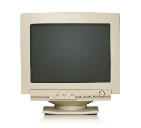 television antigua: Primer plano de monitor de ordenador viejo aislado en fondo blanco con trazado de recorte para la pantalla