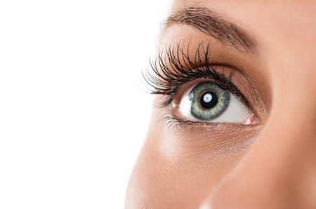 eyes: Close-up van natuurlijke vrouwelijke ogen geïsoleerd op wit