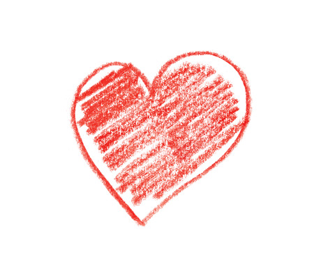 Hand drawn, crayon heart shape isolated on white  photo