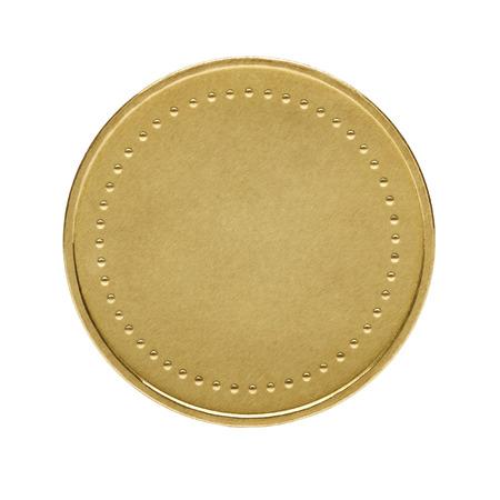 黄金のコインを白で隔離のクローズ アップ