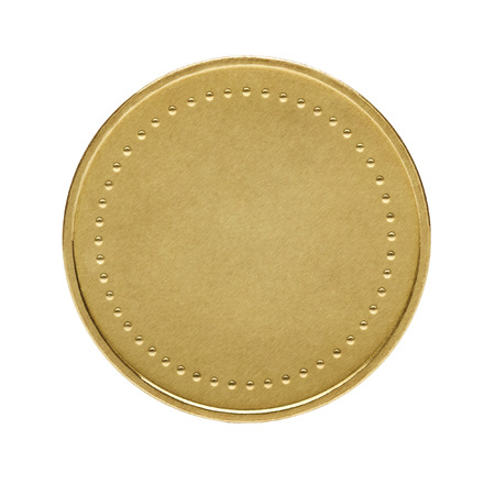 Close up of golden coin isolated on white