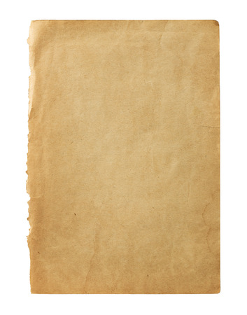Old blank book page isolated on white background with copy space photo