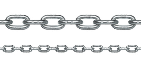 Seamless silver chain in two different sizes isolated on white background Very easy to extend it to any length