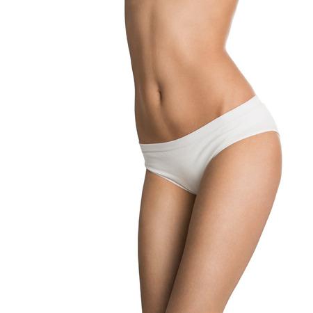 Close up of perfect female body isolated on white background photo