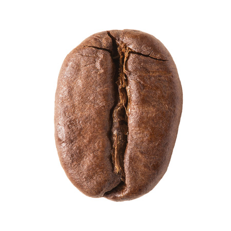 Close up of single coffee bean isolated on white background Standard-Bild