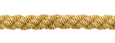 Seamless gold rope isolated on white background photo