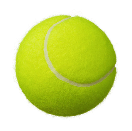 Close up of tennis ball isolated on white background