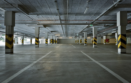 Empty underground parking background with copy space  Stock Photo